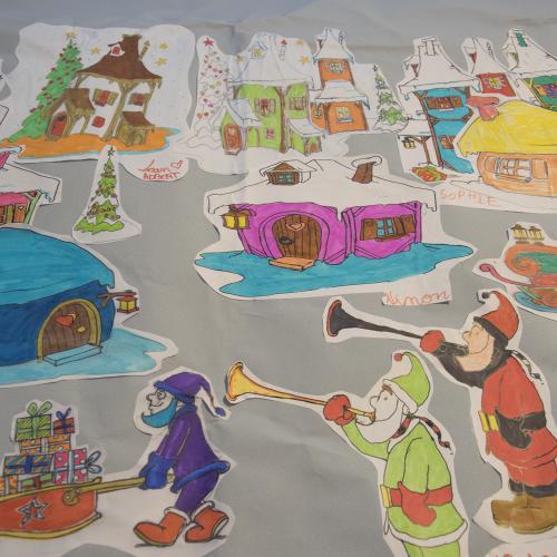 Une fresque géante coloriée par les enfants